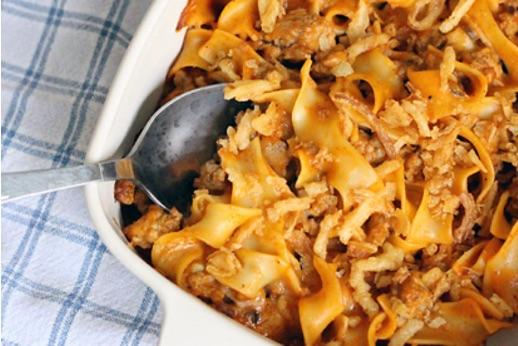 Casserole dish with pasta & mince bake
