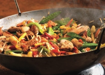 wok frying pan with mixed vegetables with strips of meat